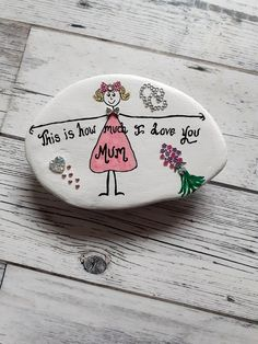 Mother's day gift, gift for mum, this is how much I love you mum keepsake pebble. Gifts For Boss, Gifts For Mum, Mother Day Gifts, I Love You Mum, Unique Gifts For Women, Mother's Day Diy, Stick Figures, Pebble Art, My Etsy Shop