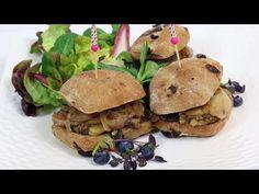 Recette et video d'un burger au foie gras de canard, Duxelles de cèpes et Confit d'oignons et raisin aux cèpes