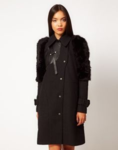 Eudon Choi Harieth Coat with Shearling Contrast Sleeves