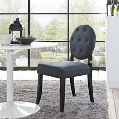 BUTTON DINING SIDE CHAIR IN GRAY