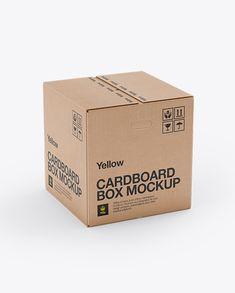 Corrugated Fiberboard Box Mock-Up - 70° Angle Front View (High-Angle Shot). Preview