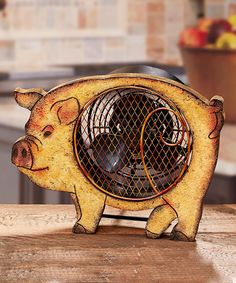 DecoBreeze Pig Wood Fan #zulilyfinds