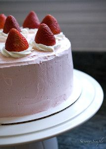 This recipe for Strawberry Buttercream Layer Cake features layers of moist strawberry cake and Italian meringue buttercream. What a great cake recipe from Jen at Savory Simple!