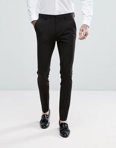 Browse online for the newest ASOS DESIGN super skinny tuxedo suit pants in black styles. Shop easier with ASOS' multiple payments and return options (Ts&Cs apply). Tuxedo Pants, Tuxedo Suit, Tuxedo For Men, Mens Dress Pants, Men Dress, Suit Pants, Trousers, Mens Fashion Suits, Mens Suits