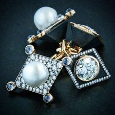 Pair of natural pearl, old mine diamond, black jade, sapphire gold and platinum cufflinks.  #taffinjewelry #taffin #jamesdegivenchy #jamestaffindegivenchy #naturalpearls