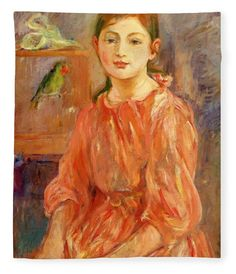 The Artist's Daughter (Julie Manet) with a Parakeet 1890 - Berthe Morisot - Oil on Canvas French Impressionist Painters, Impressionist Paintings, Impressionism Art, Oil Paintings, Mary Cassatt, Camille Pissarro, Pierre Auguste Renoir, Edouard Manet, Julie Manet
