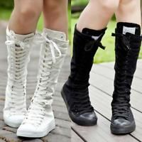 Womens Girls Punk Boot Canvas Lace Up Zip Knight riding Knee High Boots Shoes