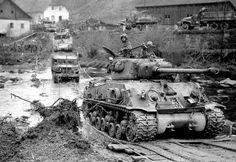 Tanks of the American 11th Armored Division crossing the Muhl River near Neufelden, Austria. May 4, 1945.