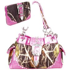 Handbags, Bling & More! Western Pink Camouflage Buckle Rhinestone Purse W Matching Wallet : Matching Sets