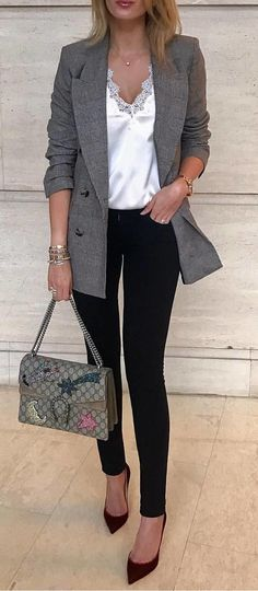 #fall #outfits woman in gray coat suit with black pants