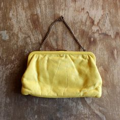 1950s Vintage Yellow Leather Clutch/ 50s Vintage by VioletteRoad, on Etsy $68.00