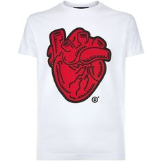 Dsquared2 Human Heart T-Shirt ($215) ❤ liked on Polyvore featuring men's fashion, men's clothing, men's shirts, men's t-shirts, mens heart shirt, mens graphic t shirts, mens slim t shirts, mens crew neck t shirts and mens slim fit crew neck t shirts