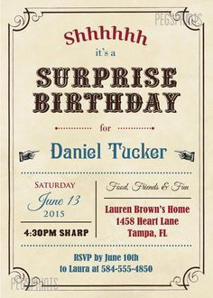 15 best surprise party invitations images on pinterest surprise adult surprise birthday invites vintage surprise party invitation printable birthday invitations for boys birthday invitations for men filmwisefo