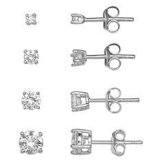 This graduated stud earring set from PRIMROSE offers beautiful style for any occasion. Jewelry Sets, Women Jewelry, Sterling Silver Earring Sets, Black Diamond Studs, Post Metal, Kohls, Polished Nickel, Jewelry Collection, Stud Earrings