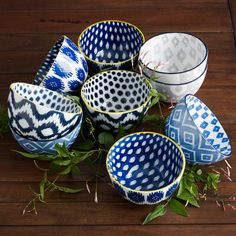 I was raised in a blue & white kitchen with my Swedish mother ... this would be the perfect update for my pad.    Pad Printed Ikat Bowls from west elm #colorcrush