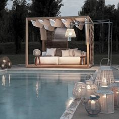 19 Stunning Swimming Pool Designs for Your Backyard - decoratop Canopy Outdoor, Outdoor Pool, Outdoor Decor, Outdoor Areas, Pvc Canopy, Canopy Crib, Hotel Canopy, Canvas Canopy, Window Canopy