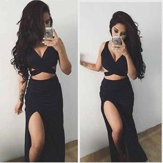 Black Two Pieces Side Slit Long Sexy Beach Prom Dresses, PM0237