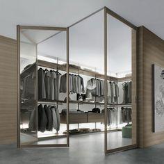 Stunning Contemporary Walk In Closet Design With Sliding Door