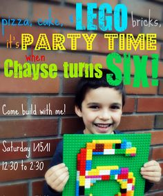 Cute Party Invitation for Lego themed party
