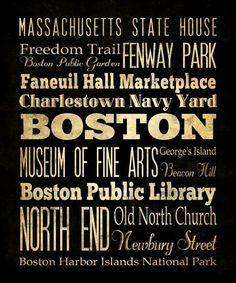 Items Similar To Boston, Massachusetts, Typography Art Poster / Bus /  Transit / Subway Roll Art   Bostonu0027s Attractions Wall Art Decoration   On  Etsy Part 23