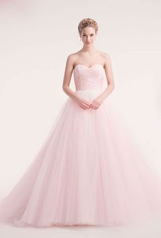 Dress: Light pink dress? Rhinestone bust, simple full skirt?