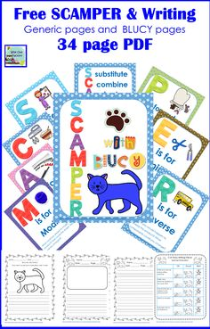 SCAMPER Thinking Skills Printable Freebie -- SCAMPER is a creative thinking tool to help develop product ideas. Kindergarten Writing, Teaching Writing, Teaching Tools, Teaching Strategies, Teaching Ideas, Literacy, Classroom Themes, Classroom Activities, Creative Thinking Skills