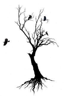 Modèle de tatouage d'un arbre mort avec des corbeaux.