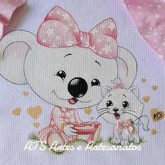 Detalhes Whimsical Art, Fabric Painting, Animal Paintings, Besties, Coloring Books, Illustration Art, Illustrations, Hello Kitty, Barbie