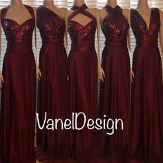 Sequins Bridesmaids Dress Burgundy Convertible Infinity Wrap Dress Handmade by V. - Sequins Bridesmaids Dress Burgundy Convertible Infinity Wrap Dress Handmade by VanelDesign on ETSY questions- Source by - Sparkly Bridesmaid Dress, Infinity Dress Bridesmaid, Davids Bridal Bridesmaid Dresses, Wedding Dresses, Maid Of Honour Dresses, Maid Of Honor, Bridesmaids And Groomsmen, Wedding Bridesmaids, Maroon Wedding