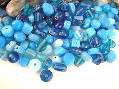 Tiny Lighter Blue Glass Bead Mix 5mm 7mm Light by EthnicBeadShop, $3.75