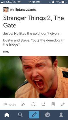 Stranger things Steve Harrington  Dustin  Joyce Demidog  Stranger things 2 Demigorgon stranger things 2 funny stranger things funny