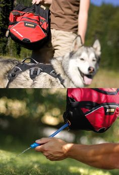 Dog packs for hiking like this Ruff Wear Palisades Pack are the ultimate backcountry dog packs that let your dog carry canine essentials such as food, water, bowls, treats, first-aid supplies, and toys. These Dog packs for hiking start with a Ruff Wear Web Master Harness with a rugged, multi-featured, detatchable saddle bag system on top. The Ruff Wear Palisades Pack is built for use in rugged conditions on multi-day backpacking trips when extra carrying capacity is needed.