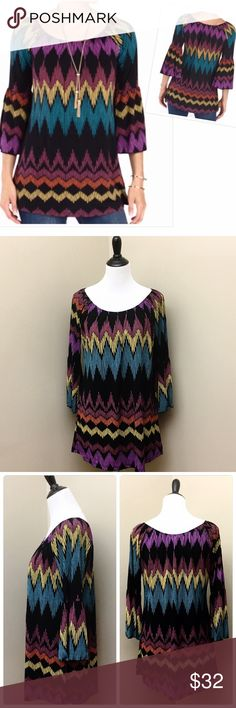 "Spense Bohemian Chic Long Bell Sleeve Top- New You'll look Bohemian Chic in this bell sleeve top! Gorgeous vibrant zigzag colors and longer length give this top a stylish look. Perfect with skinny jeans or leggings. Scoop neck and 3/4 bell sleeves. Material- Polyester/spandex. Approx length 33"". Brand new with tags! Retails $58 Spense Tops"