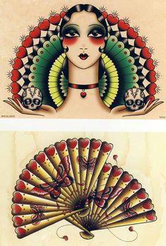 Angelique Houtkamp retro tattoos. #AngeliqueHoutkamp #TattooFlash #Flash