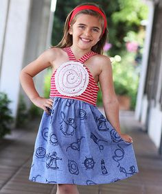 Pink & Chambray Stripe Blooming Rose Dress - Toddler & Girls by Freckles + Kitty #zulily #zulilyfinds