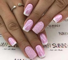 Pink nail with white tips