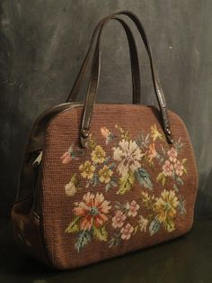 Vintage Retro Large 50's Needlepoint Tapestry Handbag Purse-Leather Handle-Floral-Chocolate Brown-Muted Palette on Etsy, $58.00