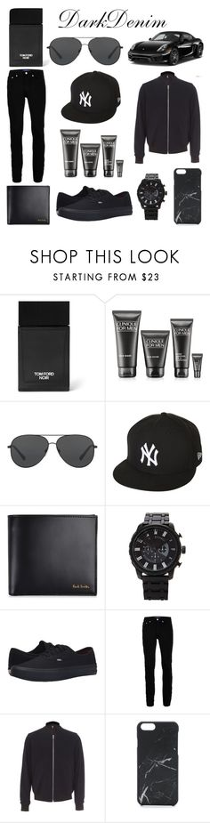 """""""Dark Denim"""" by worldrecord ❤ liked on Polyvore featuring Tom Ford, Clinique, Michael Kors, New Era, Paul Smith, Forever 21, Vans, Topman, PS Paul Smith and Native Union"""