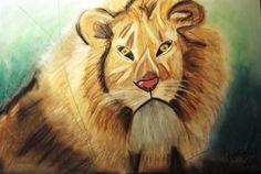 """""""Leão"""" Pintura a Pastel Seco e Lápis de Cor A3"""