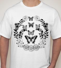 New Bassnectar shirt design - flowers and butterflies (26 colors available)