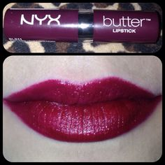 "NYX Butter in ""Licorice."" My new favorite dramatic lipstick!"