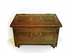 Vintage ENGLISH Brass KINDLING BOX  Repousse design by Greentiques, $175.00