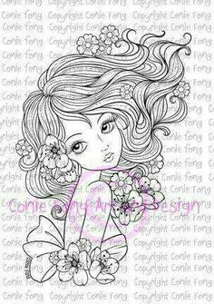 Digital Stamp Digi Stamp Leilani by Conie Fong by ConieFongArt Free Adult Coloring Pages, Coloring Book Pages, Tattoo Painting, Digi Stamps, Fabric Painting, Hand Coloring, Sketches, Tattoos, Drawings