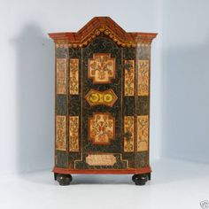 lots of interesting features...;c. 1850 Antique Handpainted Bavarian German Armoire Cabinet w/secret cut-out bottom drawer opens only when cabinet unlocked/open, hand painted in 'jigsaw' style  of the era, orig. wrought iron hinges, orig iron Key must remain in keyhole when door is locked, removable only when door is open, probably as a safety feature..