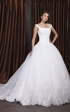 Ball Gown Off-the-shoulder Chapel Train Satin Organza