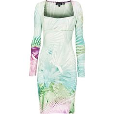 JUST CAVALLI Tropic Pastel Printed jersey dress ($340) ❤ liked on Polyvore