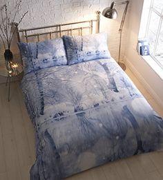 Snowy Winter Wonderland 100% Brushed Cotton Flannelette Duvet Cover Bedding Set