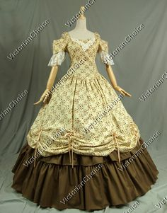 Southern Belle Civil War Cotton Ball Gown Dress Prom Reenactment Clothing