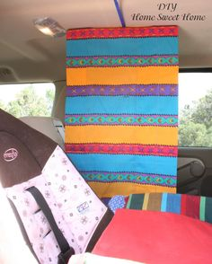 "Road Trip:  To help stop the ""stop looking at me, don't touch me"" bickering in the car, put up a divider curtain made of scrap fabric!  ""The velcro stuck right to the top of the car and provided and instant divider between the two girls. It also came down very easy and did not ruin the car at all."""