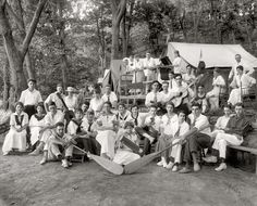 "Washington, D.C., 1915. ""Klassy Kamp group."" A summer camp on the banks of the Potomac. National Photo Company Collection glass negative."